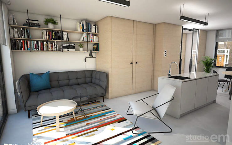 Interieurontwerp 3D impressie woonkamer, multiplex en gietvloer Minimalistische woonkamers van Studio-em Minimalistisch