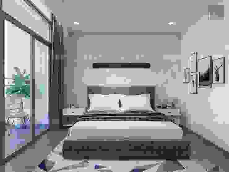 Thiết kế nội thất căn hộ Vinhomes Central Park Tân Cảng Phòng ngủ phong cách hiện đại bởi ICON INTERIOR Hiện đại