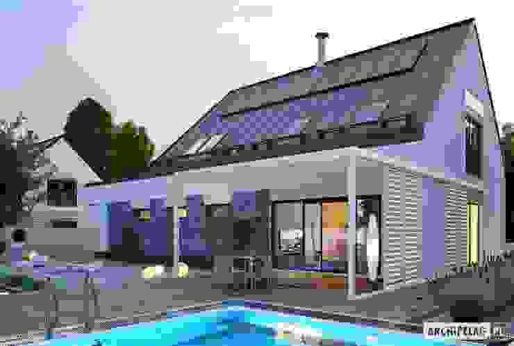 Sam II G2 ENERGO PLUS – nowoczesny dom z otwartą strefą dzienną i dwoma tarasami Pracownia Projektowa ARCHIPELAG Dom jednorodzinny