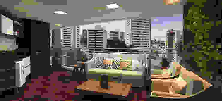 Balkon, Beranda & Teras Modern Oleh Sotto Mayor Arquitetura e Urbanismo Modern