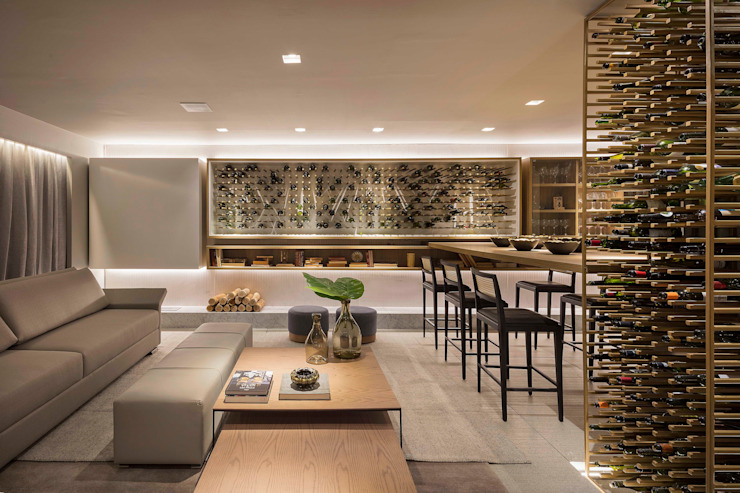 Traama Arquitetura e Design Modern wine cellar Iron/Steel Amber/Gold