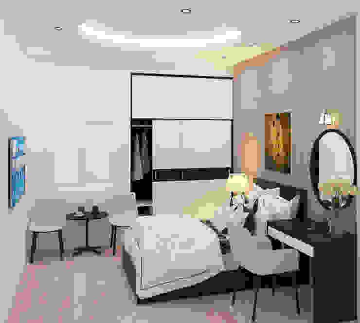 Tư Vấn Thiết Kế Xây Nhà 2 Tầng Có Sân Thượng Với Chi Phí 640 Triệu Phòng ngủ phong cách hiện đại bởi Công ty TNHH Xây Dựng TM – DV Song Phát Hiện đại