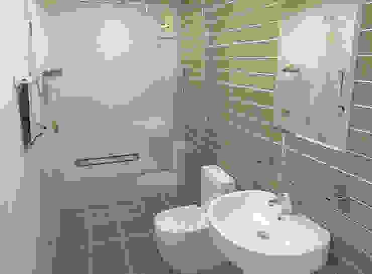 Tư Vấn Thiết Kế Xây Nhà 2 Tầng Có Sân Thượng Với Chi Phí 640 Triệu Phòng tắm phong cách hiện đại bởi Công ty TNHH Xây Dựng TM – DV Song Phát Hiện đại