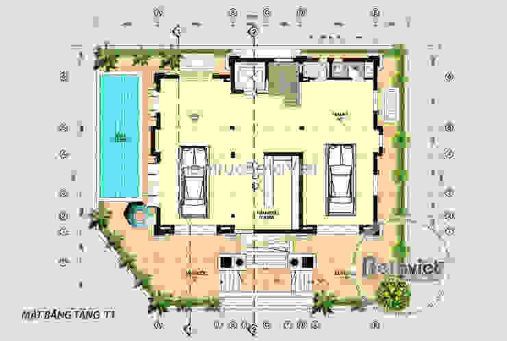 Mặt bằng tầng trệt phối cảnh mẫu thiết kế biệt thự đẹp 3 tầng Cổ điển (CĐT: Ông Mạnh - Hà Nội) KT16019 bởi Công Ty CP Kiến Trúc và Xây Dựng Betaviet