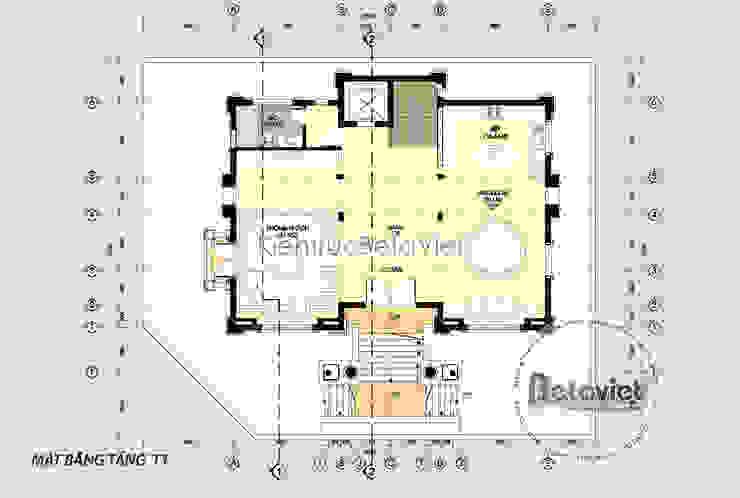 Mặt bằng tầng 1 mẫu thiết kế biệt thự đẹp 3 tầng Cổ điển (CĐT: Ông Mạnh - Hà Nội) KT16019 bởi Công Ty CP Kiến Trúc và Xây Dựng Betaviet