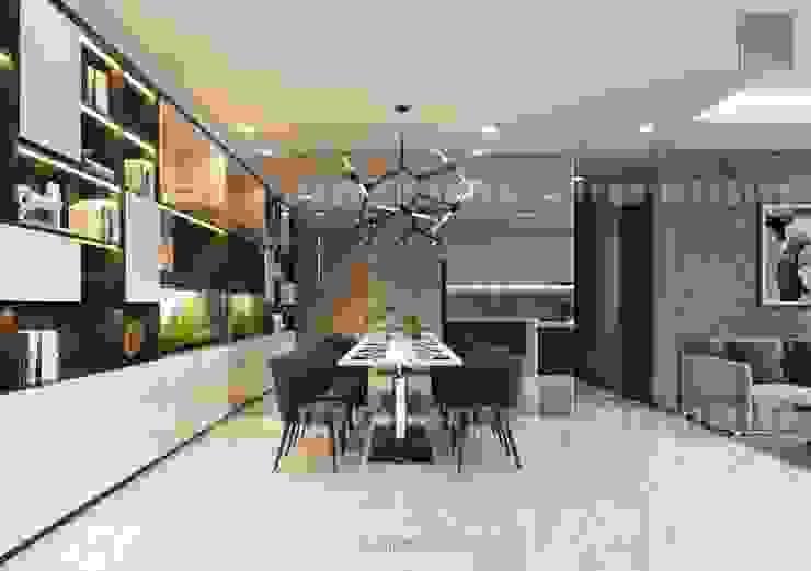 Thiết kế nội thất cao cấp dành cho căn hộ Vinhomes Central Park Phòng ăn phong cách hiện đại bởi ICON INTERIOR Hiện đại