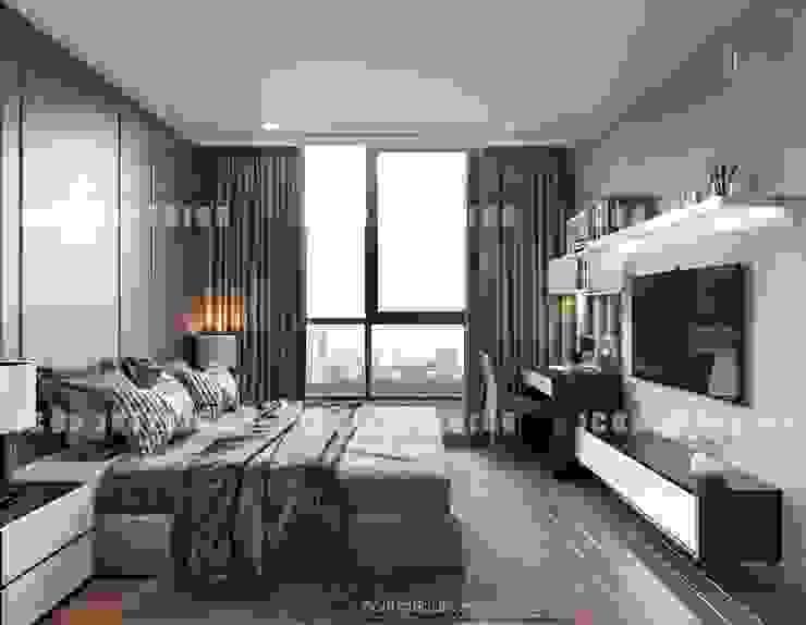 Thiết kế nội thất cao cấp dành cho căn hộ Vinhomes Central Park Phòng ngủ phong cách hiện đại bởi ICON INTERIOR Hiện đại
