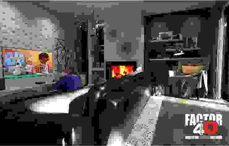 Virtual3D#001 Salas de estar modernas por Factor4D - Arquitetura, Engenharia & Construção Moderno