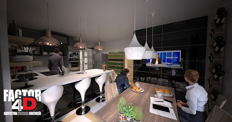 Virtual3D#007 Cozinhas modernas por Factor4D - Arquitetura, Engenharia & Construção Moderno