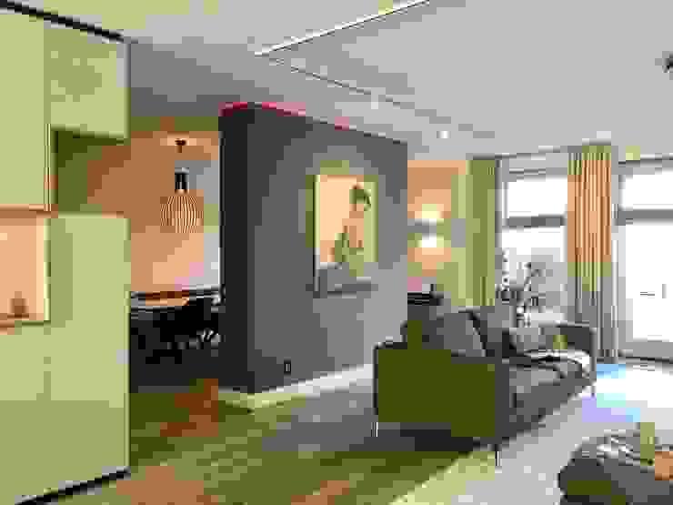 moderne woonkamer met scheidingswand en hoekkast op maat Moderne woonkamers van Stefania Rastellino interior design Modern