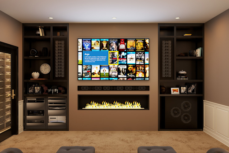 Front View showing TV and bespoke speaker package Custom Controls Electronics