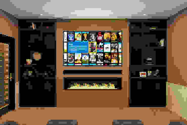 Front View showing Media Wall with bespoke speakers sized to TV Custom Controls Ruang Keluarga Klasik