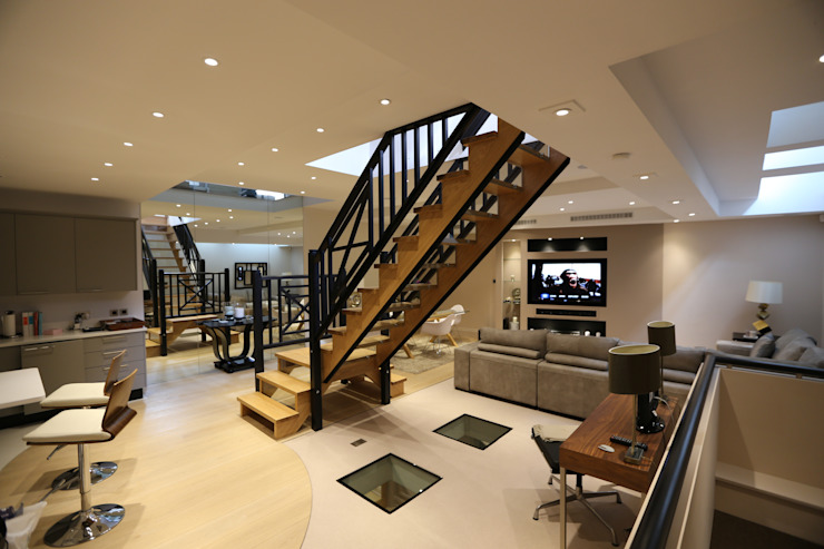 Crestron Installation in South Kensington, London Custom Controls Ruang Keluarga Modern
