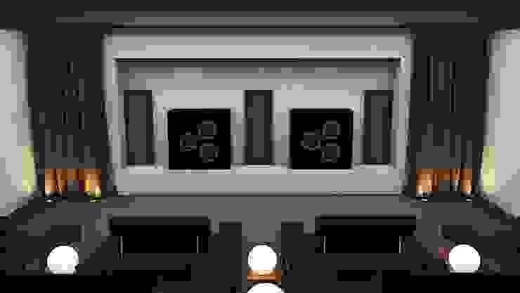 Home Cinema Room showing Speakers Custom Controls Electronics