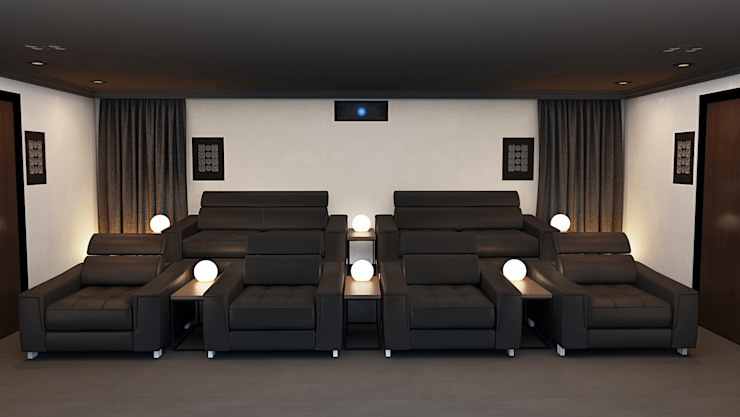 Home Cinema Room Rear View showing Speakers Custom Controls Electronics