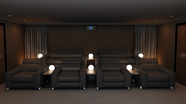 Home Cinema Room Rear View showing Fabric Walls Custom Controls Ruang Keluarga Modern