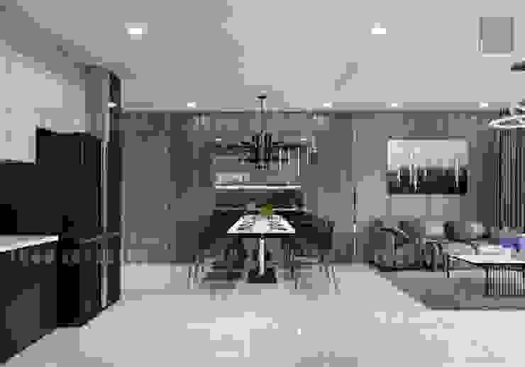 Thiết kế nội thất phong cách Châu Âu hiện đại cho căn hộ Landmark 5 Vinhomes Central Park Phòng ăn phong cách hiện đại bởi ICON INTERIOR Hiện đại