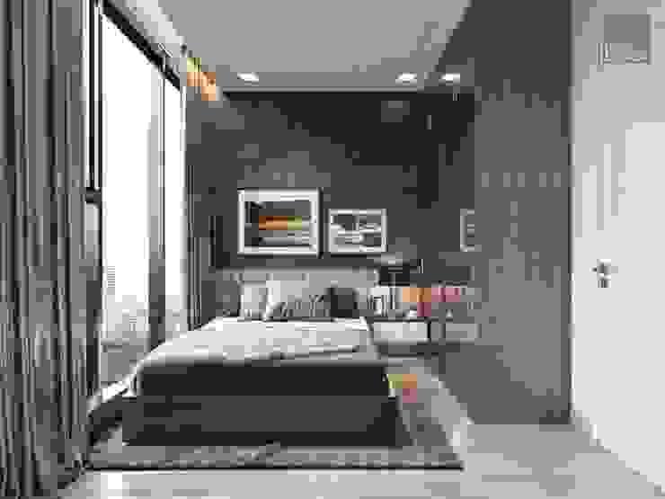 Thiết kế nội thất phong cách Châu Âu hiện đại cho căn hộ Landmark 5 Vinhomes Central Park Phòng ngủ phong cách hiện đại bởi ICON INTERIOR Hiện đại