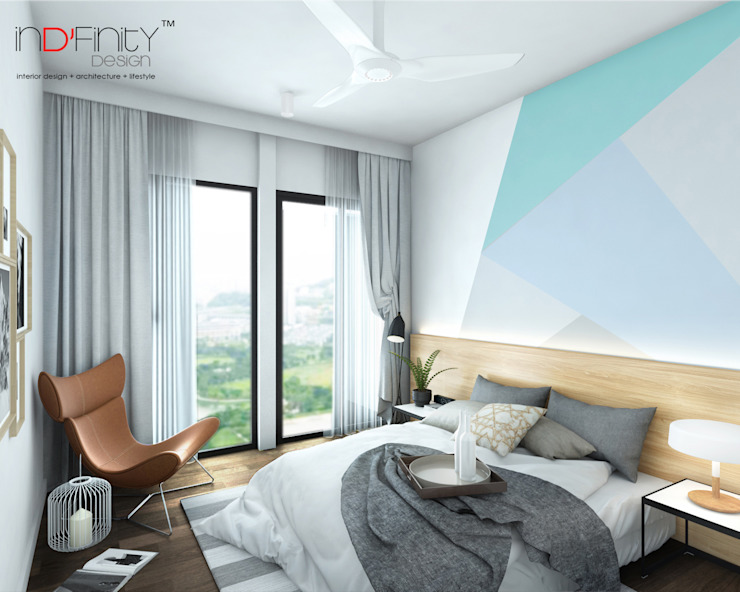 Scandinavian Design . Condominium Scandinavian style bedroom by inDfinity Design (M) SDN BHD Scandinavian