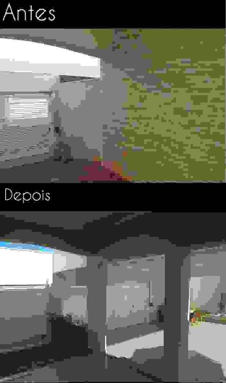 Integração entre a casa e a área de lazer do terreno ao lado através de aberturas no muro e criação de uma floreira Garagens e edículas modernas por Fávero Arquitetura + Interiores Moderno