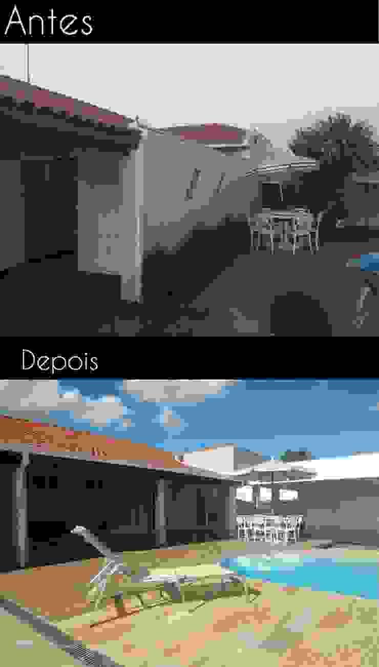 Abertura do muro de divisa entre a casa e a área de lazer para integração de todo o espaço Piscinas modernas por Fávero Arquitetura + Interiores Moderno
