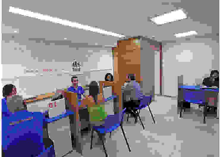 Recepção Curso Técnico Escolas ecléticas por Joana Rezende Arquitetura e Arte Eclético Madeira Efeito de madeira