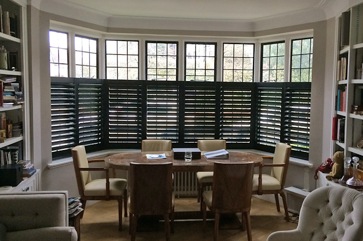 Cafe Style Shutters in a Living Room Plantation Shutters Ltd Living roomAccessories & decoration Kayu Black