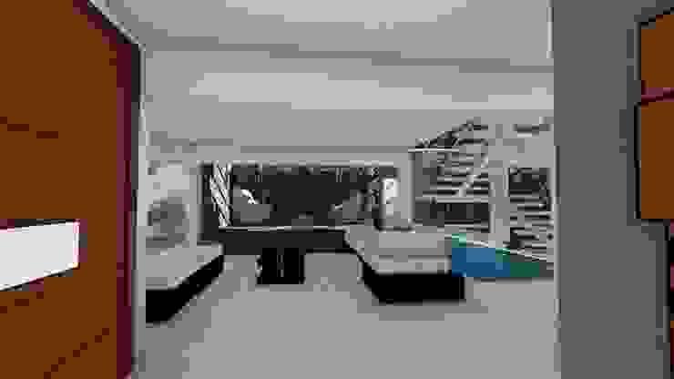 Espejo de agua y pared vegetal Paredes y pisos de estilo moderno de Vida Arquitectura Moderno Piedra