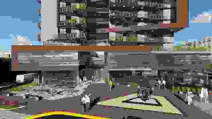 Fachada principal- acceso comercial de Vida Arquitectura Moderno Bambú Verde