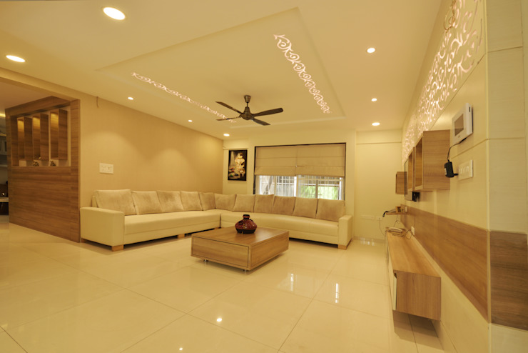 GREEN HAT STUDIO PVT LTD Modern living room Plywood Beige