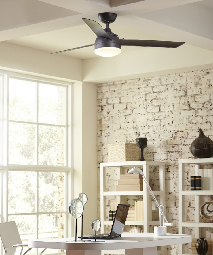 CASA BRUNO ventilador Xeno con luz Oficinas y bibliotecas de estilo industrial de Casa Bruno American Home Decor Industrial