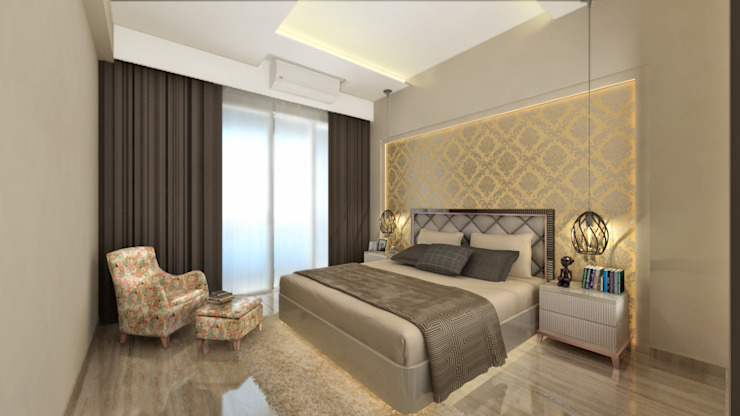 MASTER BEDROOM Minimalist bedroom by A Design Studio Minimalist Silver/Gold
