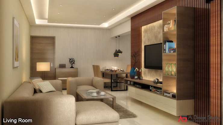 2 BHK AT THANE Minimalist living room by A Design Studio Minimalist Wood Wood effect