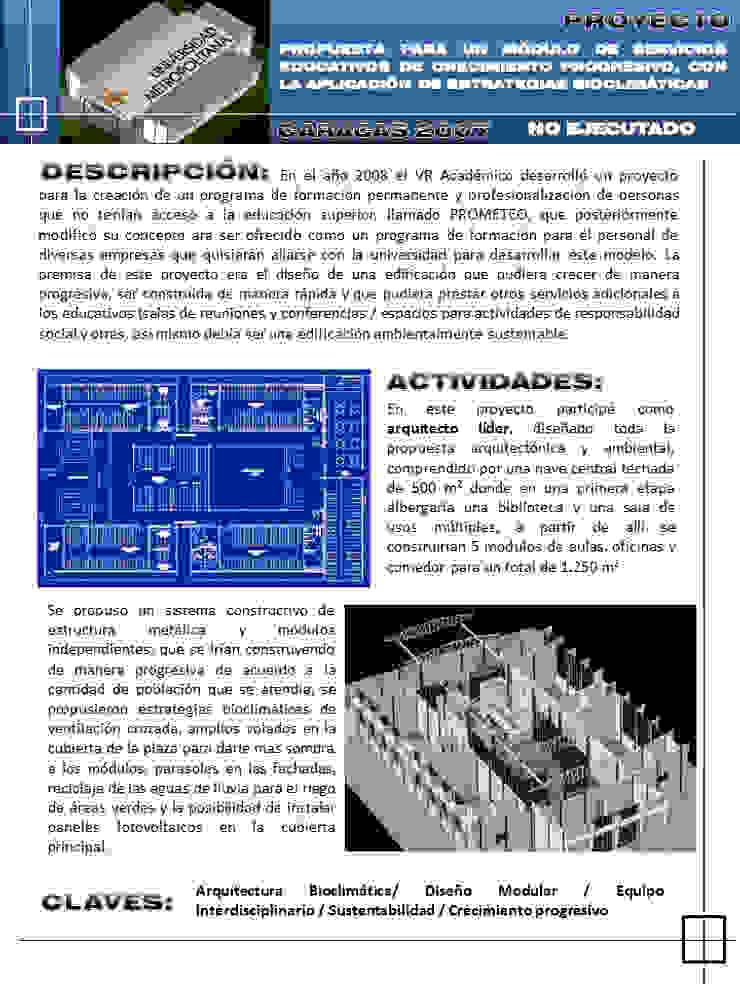 Propuesta arquitectónica, para un módulo de servicios educativos de crecimiento progresivo de JOSE RAFAEL FERERO ARQUITECTO
