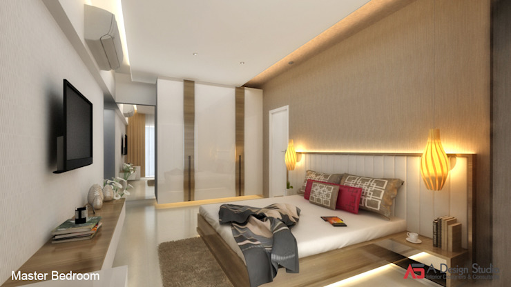 MASTER BEDROOM Modern style bedroom by A Design Studio Modern Wood Wood effect