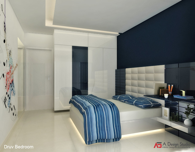 Bungalow at Alibaug Modern style bedroom by A Design Studio Modern Wood Wood effect
