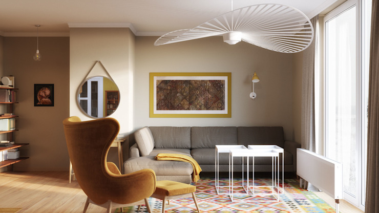 Sits sofa Oleh Isabel Gomez Interiors Skandinavia Tekstil Amber/Gold
