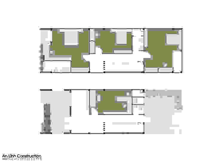 Thiết kế nhà phố kết hợp làm quán cafe tại Bình Dương bởi CÔNG TY THIẾT KẾ XÂY DỰNG AN LĨNH
