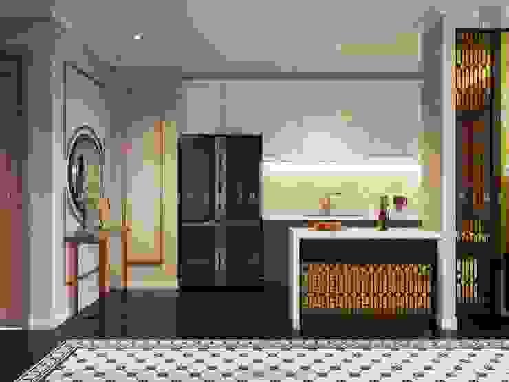 Nội thất căn hộ Vinhomes Central Park thiết kế theo phong cách Đông Dương Nhà bếp phong cách châu Á bởi ICON INTERIOR Châu Á