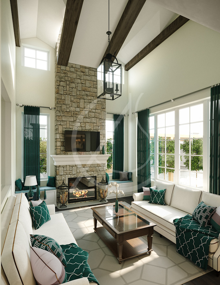 American Style House Interior Design Homify