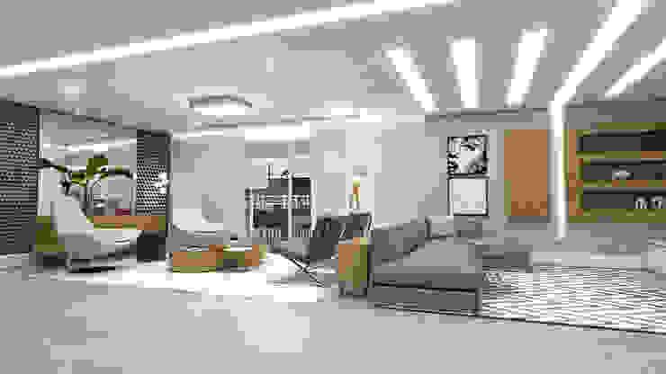 Conceito22 Arquitetura Inteligente Modern living room Wood Grey