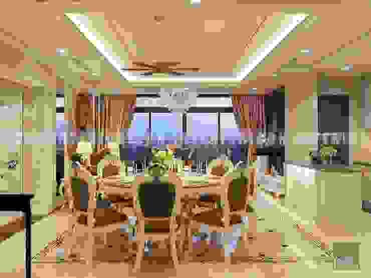 Phong cách Cổ điển trong thiết kế nội thất căn hộ Vinhomes Central Park Phòng ăn phong cách kinh điển bởi ICON INTERIOR Kinh điển