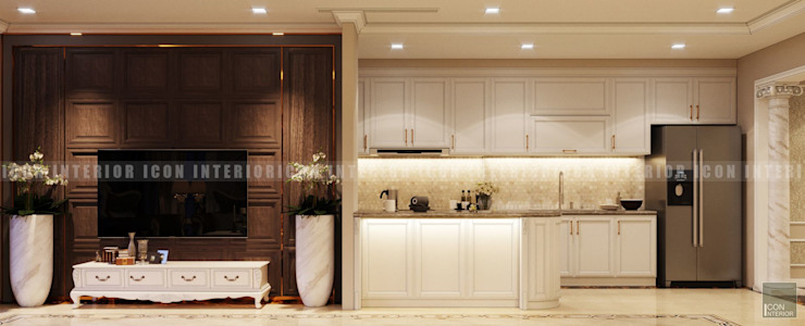 Phong cách Cổ điển trong thiết kế nội thất căn hộ Vinhomes Central Park Phòng khách phong cách kinh điển bởi ICON INTERIOR Kinh điển
