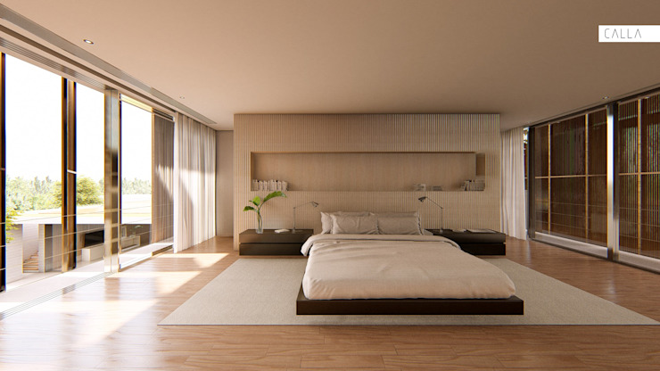 Studio Calla Arquitetura Minimalist bedroom Wood