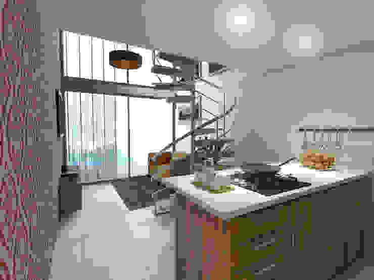 Vista Cocina / Sala: Cocinas integrales de estilo  por Gliptica Design,