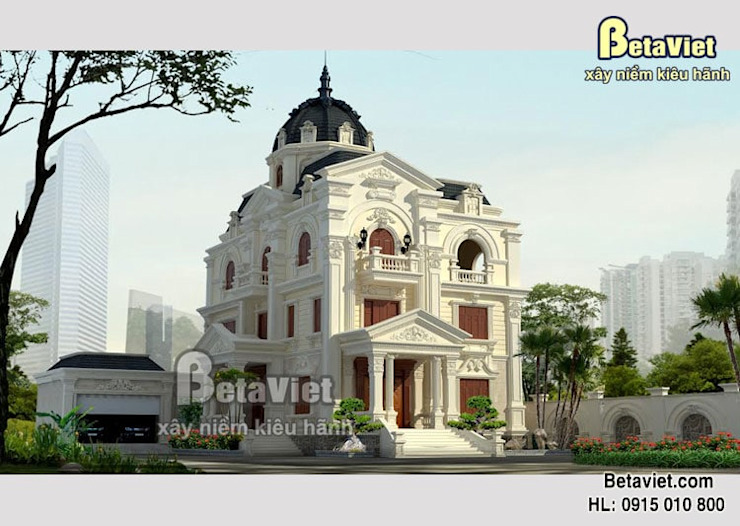 Phối cảnh mẫu thiết kế biệt thự kiểu Pháp 3 tầng hoành tráng lộng lẫy ( CĐT: Ông Nam - Quảng Bình) KT15045 bởi Công Ty CP Kiến Trúc và Xây Dựng Betaviet