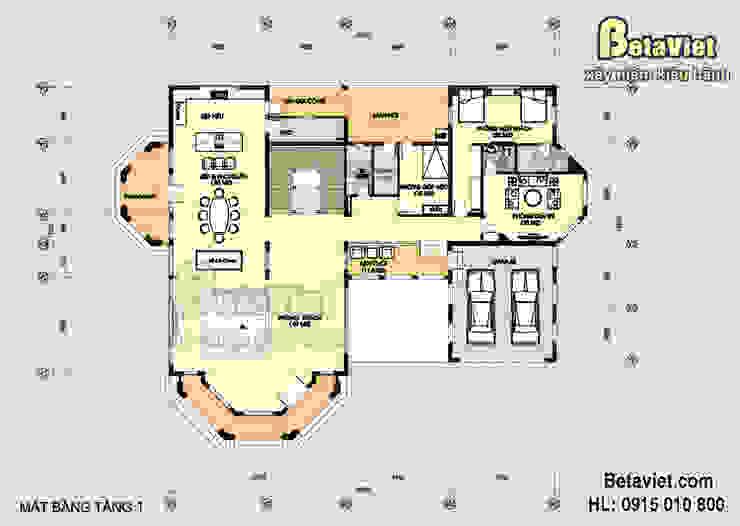 Mặt bằng tầng 1 mẫu biệt thự đẹp Tân cổ điển phong cách châu Âu 3 tầng (CĐT: Ông Nguyên - Đồng Nai) BT15006 bởi Công Ty CP Kiến Trúc và Xây Dựng Betaviet