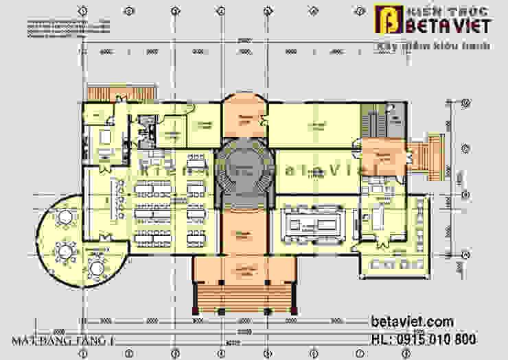 Mặt bằng tầng 1 dinh thự - biệt thự đẹp 3 tầng Tân cổ điển châu Âu hoành tráng (CĐT: Ông Hùng - Ninh Bình) BT13367 bởi Công Ty CP Kiến Trúc và Xây Dựng Betaviet