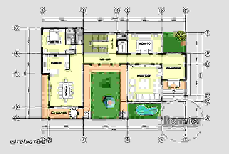 Mặt bằng tầng 1 mẫu biệt thự đẹp 3 tầng hiện đại hoành tráng phong cách châu Âu (CĐT: Ông Thắng - Thái Nguyên) KT17045 bởi Công Ty CP Kiến Trúc và Xây Dựng Betaviet