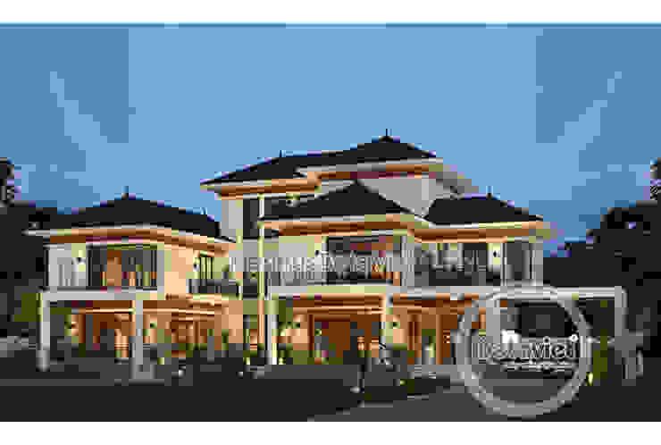 Phối cảnh mẫu biệt thự đẹp 3 tầng hiện đại hoành tráng phong cách châu Âu (CĐT: Ông Thắng - Thái Nguyên) KT17045 bởi Công Ty CP Kiến Trúc và Xây Dựng Betaviet